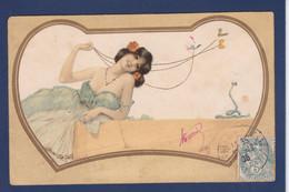 CPA Kirchner Raphael Art Nouveau Femme Woman Circulé Voir Dos Serpent - Kirchner, Raphael