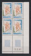 France - 1981 - Service N°Yv. 70 - Bloc De 4 Coin Daté - Neuf Luxe ** / MNH / Postfrisch - Service