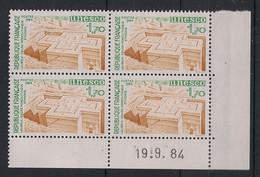 France - 1984 - Service N°Yv. 79 - Bloc De 4 Coin Daté - Neuf Luxe ** / MNH / Postfrisch - Service