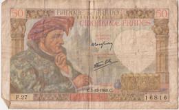 Billet De 50 Francs Type Jacques Coeur - 5 Décembre 1940 - 50 F 1940-1942 ''Jacques Coeur''