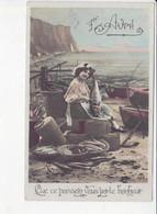 1er AVRIL, ETRETAT, Que Ce Poisson Vous Porte Bonheur, Jeune Femme Pêcheur, Barques, Ed. HM 1910 Environ - April Fool's Day