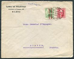 1931 Spain Eladio De Ansuategui, Bilbao Mixed Franking Cover - Spanish Vice Consulat D'Espagne,Dieppe France. Diplomatic - Cartas