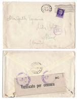 NB2     Regno 1941 - Busta Da Torino Per Albino (Bergamo), Timbri E Fascetta Verificato Per Censura - Marcophilie