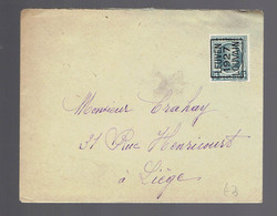 5c Gris Leuven 1927 Louvain / Lsc => Liège - Tipo 1922-31 (Houyoux)