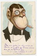 """Carte Anthropomorphisme Animaux Habillés De Forme Humaine.  """"  Le Gentleman Singe En Smoking """"  Monocle, Fume Cigarette. - Monkeys"""