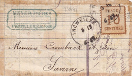 24444# ALSACE LORRAINE 10  Centimes BURELAGE RENVERSE DEVANT DE LETTRE Obl INGWEILER BAS RHIN ALSACE INGWILLER - Alsace Lorraine