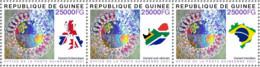 GUINEE GUINEA 2021 STRIP 3v JOINT ISSUE - STRUGGLE AGAINST VARIANTS OF SARS COVID 19 PANDEMIC CORONAVIRUS BRAZIL MNH - Emisiones Comunes