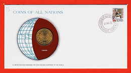 VEN263 ⭐ TUNISIA 100 Millim Tunisie FRANKLIN MINT Coins Nations Coin Limited Edition Enveloppe Numismatique Numiscover - Tunisia