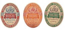 Lot De 3 étiquettes De Bière : Grande Brasserie De La Croix D'Arcueil , Heimerdinger Et Lurck - Bier