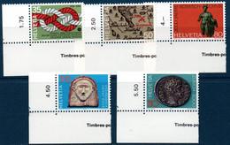 CH 1986  Anniversaires Divers  N°YT 1237-1241  ** MNH Coin De Feuille - Nuovi