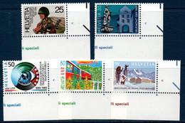 CH 1989  Anniversaires Divers    N°YT 1314-1318   ** MNH   Coin De Feuille - Nuovi
