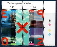"CH  2002  Exposition ""Expo 02""    N°YT 1710-1713  ** MNH Timbres Se Tenant; Coin De Feuille - Nuovi"