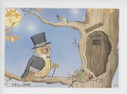 """Sphie Motte Illustrateur """"Sortie Du Samdei Soir"""" Chouette Hibou Smoking Chapeau Haut-de-forme Night-Club (cp Vierge Deco - Other Illustrators"""