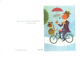 Grande Double Cpm - Cycliste Homme Bicyclette Parapluie Chien Pipe Chapeau Plume Fumeur - Alain Grée Ricobel 2017 - Contemporánea (desde 1950)