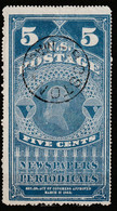 Etats Unis - Newspaper Stamps - N°PR6 Obl (1875) 5c Bleu - Giornali & Periodici