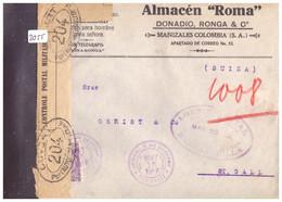 COLOMBIA - COURRIER CENSURE POUR LA SUISSE - VOIR 2 IMAGES POUR LES DETAILS - !!! NO PAYPAL !!! - Colombia