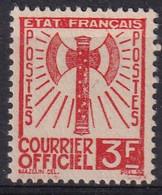 FRANCE - 1943 SERVICE Francisque 3 Francs Orange - N° YT 10 Usagé (*) - Non Classés