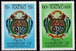 Nauru 1978 10 Years Independance 2 Values MNH 2105.2721 - Nauru
