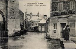 CPA Corbeil Essonne, Cloitre Saint Spire, Inondations De 1910, PTT - Sonstige Gemeinden