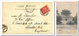 CHINE Carte Postale Pékin 北京 Tombeau Des Empereurs Aux Si-Ling 1907 Affranchie 10 Cts Mouchon Rose YT 24 Pour Londres UK - Briefe U. Dokumente