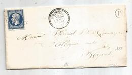 "- CORREZE - COREZE - PC.966 S/TPND Type Napoleon III N°14 Bleu Fonçé + BR ""D""+ Càd T.22 - 1856 - 1853-1860 Napoléon III"