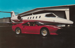 Ferrari Sports Car Accessories Advertisement Red Ferrari In Front Of Private Jet, Florida Dealership C1980s Vintage Card - Publicidad
