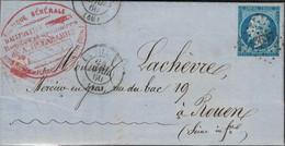 SEINE - LA VILETTE - EMPIRE - N°14  - DU 24-04-1860 - PC3637 - ENTETE FABRIQUE D'ALLUMETTES CHIMIQUES - A DELABARRE - SU - 1849-1876: Classic Period