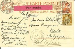 CP De L'inauguration Union Postale Universelle 1909 Par Exprès De Luzern 5 Pour Uccle ( Poste ) Cahet Octoganal 1910 - Storia Postale