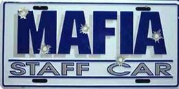 """USA Metal (tin) Plate 'Mafia Staff Car"""" Bulletholes - 30 X 15 Cm - NEW - MINT Condition - Plaques En Tôle (après 1960)"""