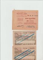 BON MATIERE  -  LOT De 3 Bons ( Bois De Chauffage  Pour Un Stére  , Pour 2 Stéres ) Periode 1944 /1945  - Rationnement - Bonos