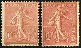 YT 129 Et 129c (*) MH 1903-24, (Type I & Type III) Semeuse Lignée 10c Rose (côte 18 Euros) France – Kr3lot - 1903-60 Sower - Ligned
