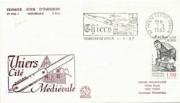 FRANCE - ENVELOPPE PREMIER JOUR 7 MARS 1987 THIERS MAISON DES COUTELIERS CITE MEDIEVALE - 1980-1989