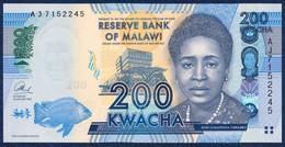 MALAWI 200 KWACHA P-60b Malawi Bank Lilongwe, Fish - Parliament Building 2013 UNC - Malawi