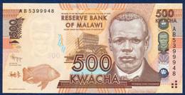 MALAWI 500 KWACHA P-61a Bank Lilongwe, Reverend John Chilembwe - Mulunguzi Dam, Zomba 2012 UNC - Malawi