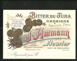 Vertreterkarte Fleurier, Bitter Du Jura Gentiane, J. Ammann, Liqueures Fines - Non Classificati