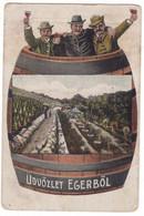 # 13194 Hungary, Eger Greetings Postcard Mailed 1918: Wine Culture, Comic - Hungary