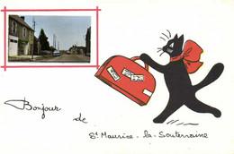 Fantaisie Bonjour De St Maurice La Souterraine Chat Valise + Vue St Maurice RV - Altri Comuni