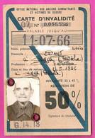 Carte De Réduction 50% SNCF Invalidité Anciens Combattants 1914-1918 G.14.18 Ardèche 1961 - Andere