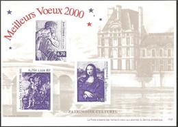 Document La Poste Gravure 15x21 A5 Meilleurs Voeux  2000 Patrimoine Culturel -La Joconde - J. Goujon - Anton Van Dyck - Documenten Van De Post