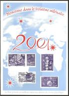 Document La Poste Gravure 15x21 A5 Meilleurs Voeux  2001 Bienvenue Dans Le Troisiéme Millénaire - Documenten Van De Post
