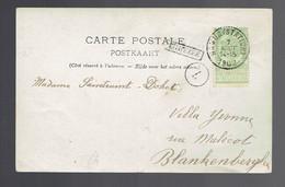 """Petite Griffe De Gare Encadrée """" Eghezée """" / Carte-photo Namur (Station) 7 AOUT 1902 => Blankenberghe Timbre N° 56 - Lineari"""