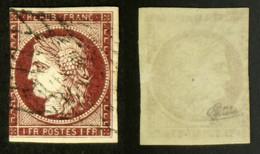 N° 6 1F CERES Carmin Oblit Déf. Cote 1000€ Signé Calves - 1849-1850 Cérès