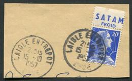 "21821 FRANCE N°1011Bc° Type II (313) Sur Fragment 20F Marianne De Muller : ""Satam"" Froid Du 15.10.1957  B/TB - Pubblicitari"