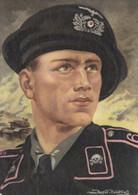 CARTE PROPAGANDE ALLEMANDE GUERRE 39-45 - TANK - PORTRAIT TANKISTE ALLEMAND AVEC TÊTE DE MORT - RARE - War 1939-45