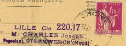1936 Perfin Charles Joseph Steenwerck Négociant Lille Sur Devant Valeur à Recouvrer CAD Orchie Vers Montier En Der - 1921-1960: Periodo Moderno