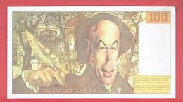 FAUX 100 FRANCS DELACROIX VRAI 100 FRANCS 1995 GUEULES D ETAT VALERY GISCARD D ESTAING PAR MULATIER PUBLICITE GLENAT - 100 F 1978-1995 ''Delacroix''