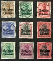1914 Belgien: Germania Mit Aufdruck Centimes  Mi. 1, 2, 3, 4Ia, 5I, 7, 2*), 7*), 8b*) - Occupazione 1914 – 18