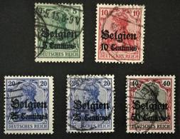 1914 Belgien: Germania Mit Aufdruck Centimes  Mi.  2, 3, 4I, 4II,  5I - Occupazione 1914 – 18