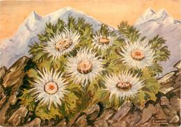CPSM FLEUR - Chardons Argentés Ou Carlines à Tiges Courtes (Carlina Acaulis) - Peinture F. Combaz     L654 - Flowers