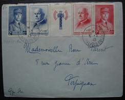1943 Pétain Bande De 4 Timbres Avec Francisque, Sur Lettre Pour Perpignan - 1921-1960: Modern Tijdperk